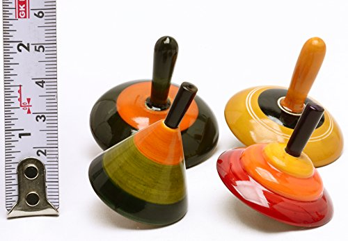 Lot of 6 pcs Handmade Painted Wood Spinning Tops Wooden Toys Vintage India Craft by AzKrafts by AzKrafts (Image #2)