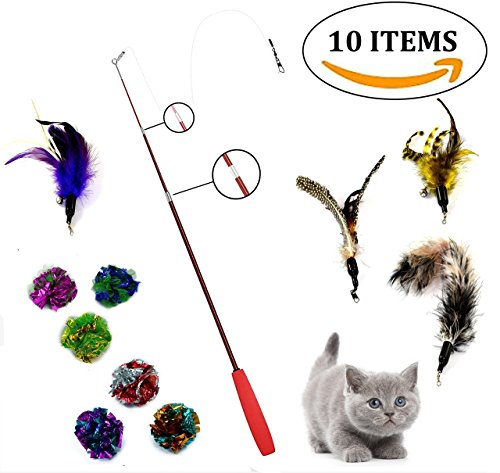 (Goldween Retractable Cat Wand, Teaser | Interactive Cat Toy with Feathers and Mylar Crinkle Balls | Value 10 Pack Cat Combo Toy Set| Cat Exerciser and Charmer)
