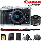 Canon EOS M6 Mirrorless Digital Camera with 15-45mm Lens (International Model) (Silver) (1725C011) - Starter Bundle