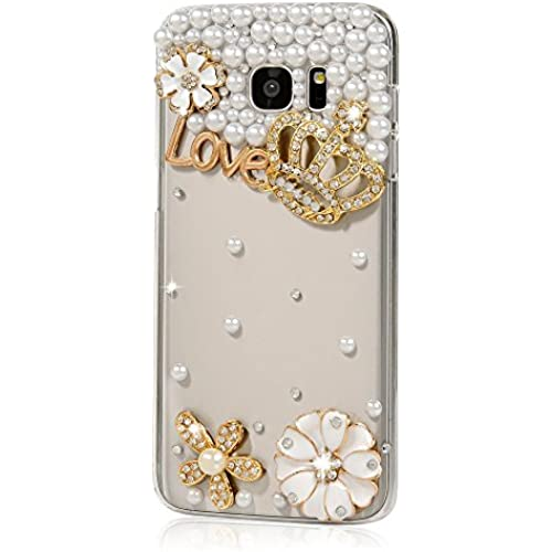 Samsung Galaxy S7 Active Case, STENES [Luxurious Series] 3D Handmade Shiny Crystal Bling Case with Retro Bowknot Anti Dust Plug - Crown Flowers / Gold Sales