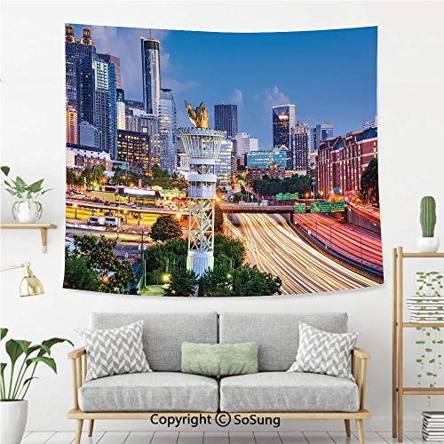 United States Wall Tapestry,Atlanta Georgia Urban Busy Town with Skyscrapers City Landscape Decorative,Bedroom Living Room Dorm Wall Hanging,92X70 Inches,Light Blue Yellow Coral