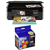 Epson Expression Home XP-440 Wireless Color Photo Printer with Scanner and Copier with Epson T288XL-BCS Cartridge Ink, 4 Pack, Black