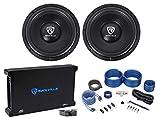 (2) Rockville W12K6D2 V2 12'' 4800w Car Audio Subwoofers+Mono Amplifier+Amp Kit