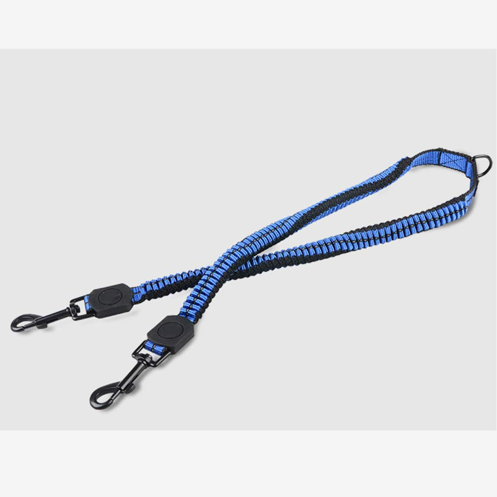 Dog Leashes Splitter - Dual Shock Absorbing Bungee Double Leash Coupler - Perfect Leads for Walking 2 Small to Medium Dogs on One Lead - No Tangle 360° Swivel Clip - Reflective Stitching,Blue,L by LTLHXM