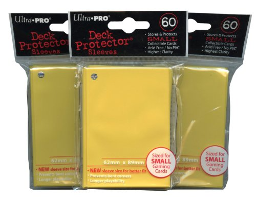 Ultra Pro Card Supplies YuGiOh Sized Deck Protector Sleeves Yellow 60 Count x3 by Ultra Pro
