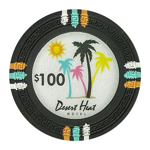 Claysmith Gaming $100 Clay Composite 13.5 gram Desert Heat Poker Chips - Sleeve of 25 (Palms Chip)
