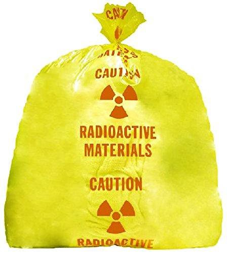 RPI Heavy Duty Radioactive Waste Poly Bag, 24 x 36 Inches, 3 mil Thickness, Case of 25 Translucent Yellow Bags, Pre-Printed with Caution Message