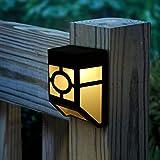MIYOLE Pack of 4 Yellow LED Solar Lights Outdoor Waterproof Garden Lamp Accent Light Yard Gutter Wall Lantern