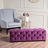 Great Deal Furniture Provence Purple Tufted Velvet Fabric Rectangle Ottoman Bench