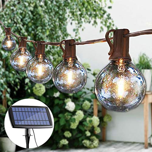 Guddl Solar String Lights G40 Patio Lights with 25 LED Globe Bulbs 27ft Outdoor String Lights for Backyard Garden Gazebo Porch Pergola Bistro Pergola Party Decor, E12 Base, 2700K