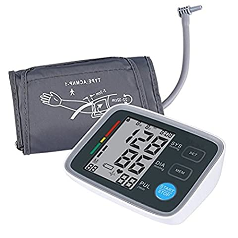 Fully Automatic Arm Digital Blood Pressure Monitor with Soft Adjustable Cuff, Large Screen Display Accurate Electronic BP Machine With Memory Storage Portable for Home - Automatic Arm