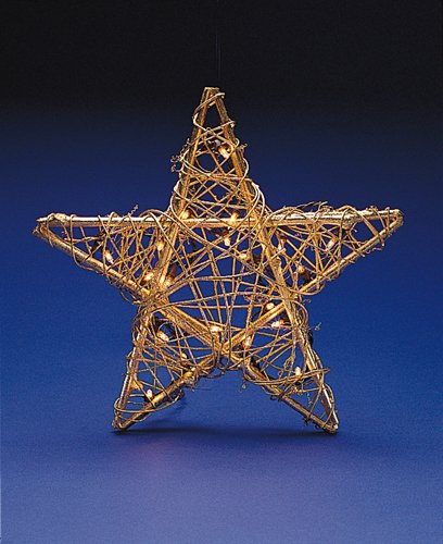 (Kurt Adler 20-Light Gold Rattan Star)
