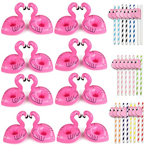 (Tuoyi Flamingo Inflatable Drink Holders 16 Packs, 25pcs Flamingo Straws, Swimming Flamingo Pool Cup Coasters Kits for Lula)