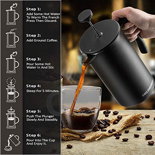 Belwares Large French Press Coffee Maker with Extra Filters for a Richer and Fuller Coffee Flavor, Designed with Double Wall Black Stainless Steel (50oz) Perfect Gift Idea