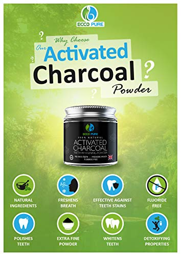 Activated Charcoal Natural Teeth Whitening Powder by Ecco Pure | Efficient Alternative to Charcoal Toothpaste, Strips, Kits, Gels by ECCO PURE (Image #4)'