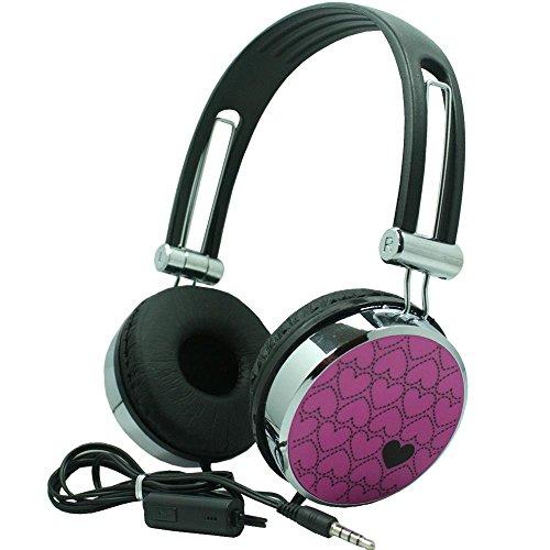 Premium Over-Head Stereo Handsfree Headset Headphones w/Mic for ZTE Blade Force,Huawei Mate 10 Lite,Kyocera DuraXV LTE,Nokia 2,BLU Vivo 8L (Hot Pink Pattern) + MND - Nokia The Headset Head Over