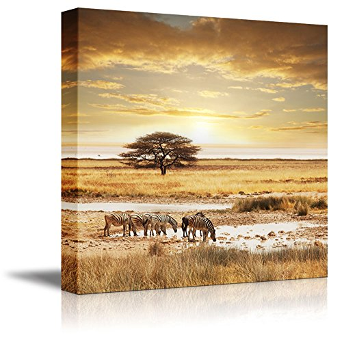 Canvas Prints Wall Art - Beautiful Landscape/Scenery of African Safari at Sunset | Modern Wall Decor/Home Decor Stretched Gallery Canvas Wrap Giclee Print & Ready to Hang - 24