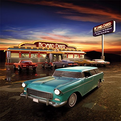 CSFOTO 8x8ft Background for Nomad Diner Retro Nostalgia Vintage Eatery Photography Backdrop Car Motorcycle Restaurant Neon Dusk Car Travel Holiday Vacation Photo Studio Props Vinyl Wallpaper]()