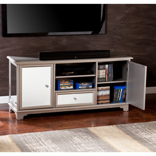 Southern Enterprises Capistrano TV and Media Stand, Silver (Finish Flat Silver Screen Tv)