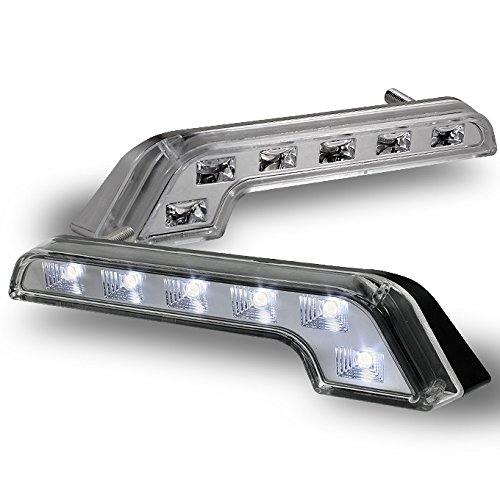 For Pair of Clear L-Shape Benz Style 6000K DRL Daytime Running Light Driving Bumpeer Fog Light