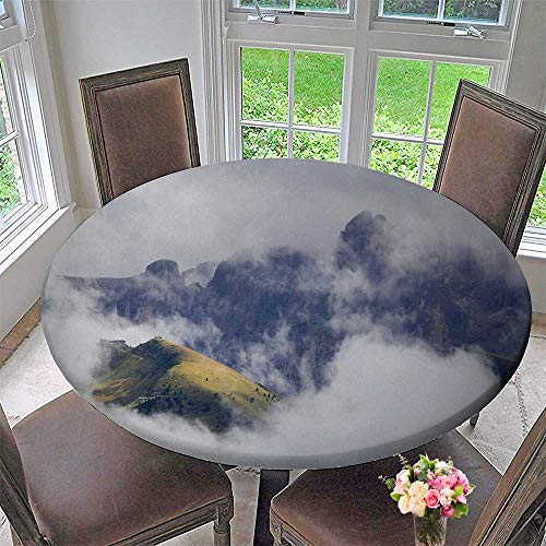 PINAFORE HOME Round Premium Table Cloth Fog in The alps Perfect for Indoor, Outdoor 40