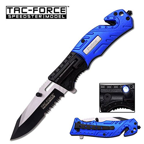 8'' TAC FORCE BLUE AND BLACK ALUNIMUM HANDLE STAINLESS STEEL BLADE MTECH SPRING ASSISTED FOLDING KNIFE Blade pocket open switch- Firefighter Rescue Pocket Knife - hunting knives, military surplus - survival and camping gear by TAC Force