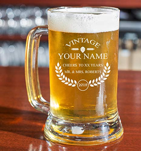 Personalized Beer Glass - Custom Engraved Beer Mug, Pint Glass, Pilsner Glass, Pitcher. | Add your own Engraved Text - Vintage Design (Beer Mug 16oz)
