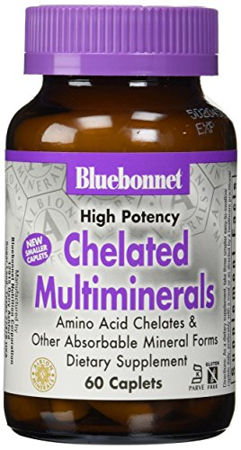 BlueBonnet Albion High Potency Chelated Multiminerals Caplets with Iron, 60 Count