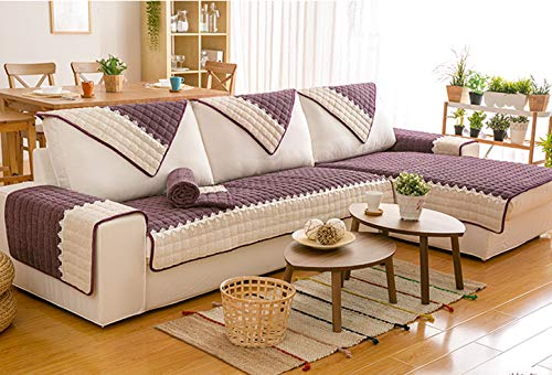 DACRIS Modern Corduroy Plush Strapless Slipcover. Form Fit Stretch, Stylish Furniture Cover/Protector.(Purple,36