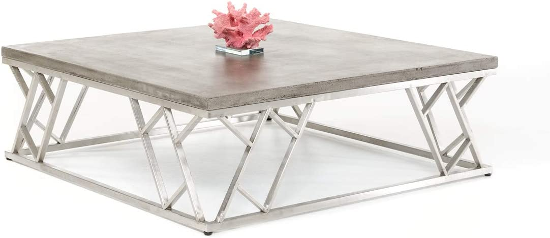 HomeRoots Concrete, Steel Modern Concrete Coffee Table