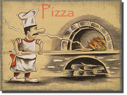 Pizza Maker Pizzeria, Wall Picture Art on Stretched Canvas Ready to Hang! -