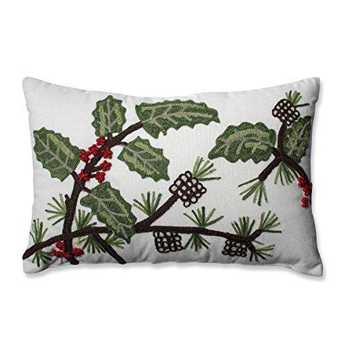 Pillow Perfect Holly & Berry Pine Rectangular Throw Pillow [並行輸入品] B07RDX2P86