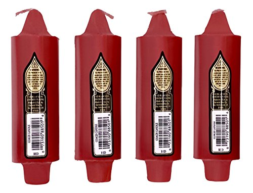 """4 per Pack Coach Candles Unscented 5"""" x 1.5"""" with 7/8"""" Base Fits Standard Taper Candle Holders (Red)"""
