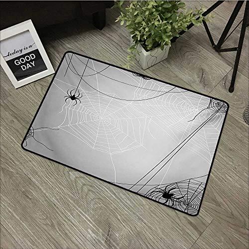 Bathroom Anti-Slip Door mat W35 x L59 INCH Spider Web,Spiders Hanging from Webs Halloween Inspired Design Dangerous Cartoon Icon,Grey Black White Non-Slip Door Mat Carpet -
