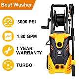 DEKO 3000PSI 1.8 GPM Electric Pressure Washer with Hose Reel,Power Hose Nozzle Gun,1800W Professional Washer Cleaner Machine with Turbo Nozzle,Integrated Hose Reel,Built in Soap/Foam Dispenser