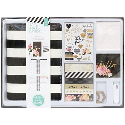 Creations Calendar Kit (American Crafts Heidi Swapp Memory Planner Kit by Black and White Striped | 929 Pieces)