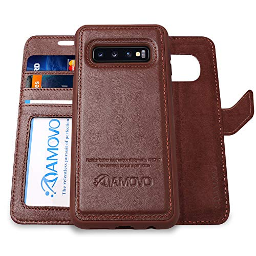 (AMOVO Case for Galaxy S10 (6.1'') [Genuine Leather] Galaxy S10 Wallet Case Detachable [2 in 1 Folio] [Wristlet] [Wireless Charge] Premium Leather Case for Samsung S10 (S10, Genuine Leather Brown))