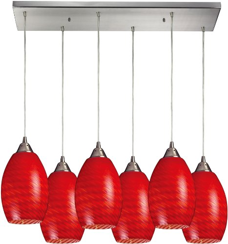 Elk 517-6RC-SC 30 by 9-Inch Mulinello 6-Light Pendant with Scarlet Red Glass Shade, Satin Nickel Finish - Mulinello 6 Light