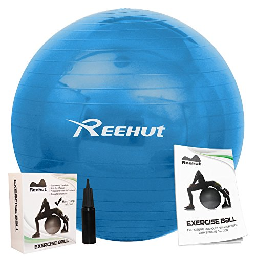 Reehut Anti-Burst Core Exercise Ball w/ Pump & Manual for Yoga, Workout, Fitness (Blue, 85cm)