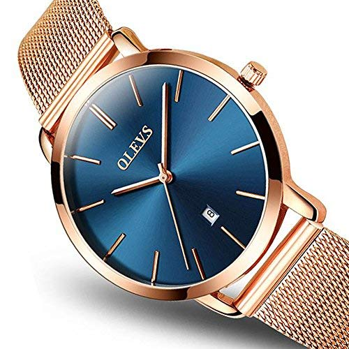 Women Ultra Thin Watch Blue Dial,Quartz Watches for Ladies, Watches Womens Rose Gold OLEVS Lady Watches on Sale Stainless Steel Wrist Watch for Women,Fashion Date Analog Sports Clock Simple - Ladies Wristwatches