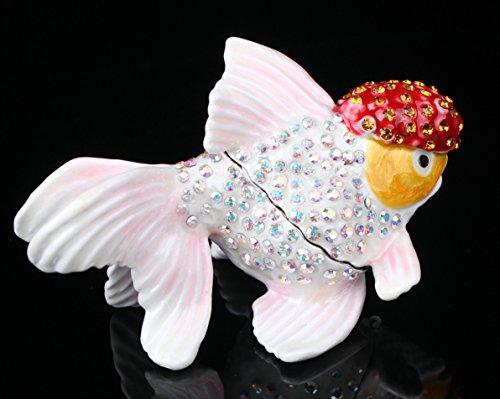 (A Fish Trinket Box Czech Crystal Bejewled Enameled Hinged Fish Trinket Box (White))
