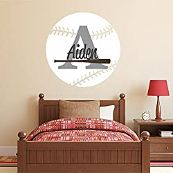 Nursery Wall Decals Baseball Name And Initial Personalized Decal 36 By