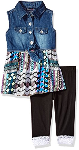 (Limited Too Girls' Little Fashion Top and Legging Set, Patchwork Sleeveless Multi Print 6X)