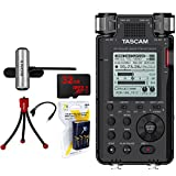 Tascam 192kHz/24bit-Compatible Studio-Quality Linear PCM Recorder (DR-100MKIII) w/Bundle + 32GB Micro SD Card + AA Charger w/4 2950mah AA Batteries + Flexible Mini Table-top Tripod +Tascam AC Adapter
