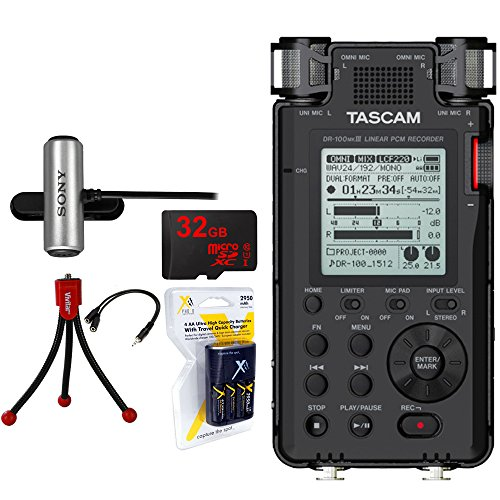 Compatible Studio-Quality Linear PCM Recorder (DR-100MKIII) w/Bundle + 32GB Micro SD Card + AA Charger w/4 2950mah AA Batteries + Flexible Mini Table-top Tripod AC Adapter ()