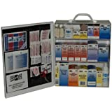 """Pac-Kit by First Aid Only 6155 493 Piece Steel Cabinet Industrial 3 Shelf First Aid Station with Wall Mount Slots and Handle, 17.5"""" Height x 13.5"""" Width x 6"""" Depth"""