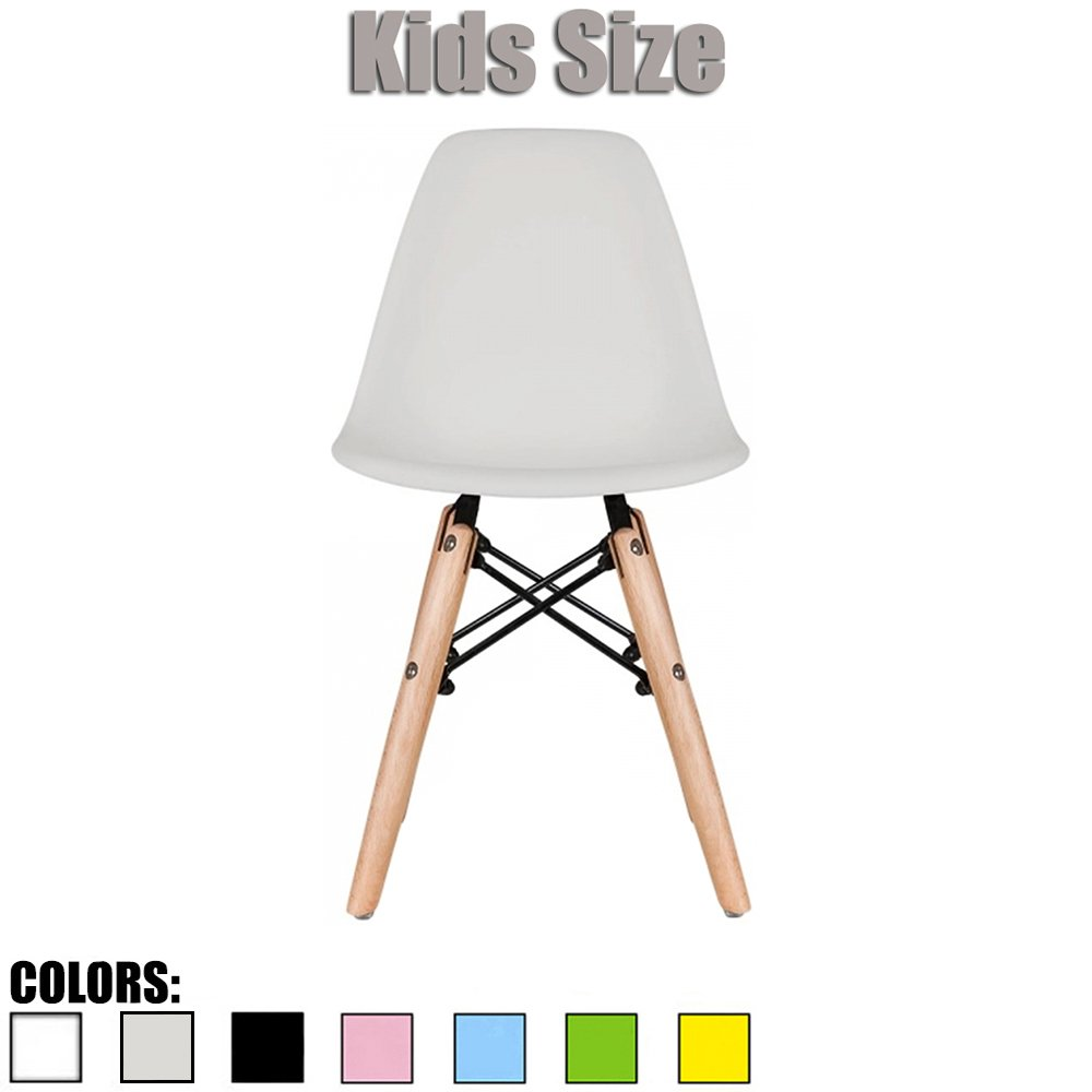 2xhome - Kids Size Eames Side Chair Eames Chair Yellow Seat Natural Wood Wooden Legs Eiffel Childrens Room Chairs No Arm Arms Armless Molded Plastic Seat Dowel Leg (Grey)