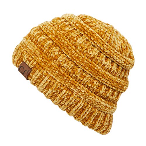 C.C Exclusives Cable Knit Beanie - Thick, Soft & Warm Chunky Beanie Hats (Chenille Mustard)