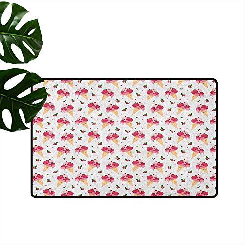 Ice Cream Non-Slip Door mat Childish Pattern Melting Cranberry Ice Cream Cones Dripping Cherries Stars Durable W35 x L47 Peach Pink Green ()