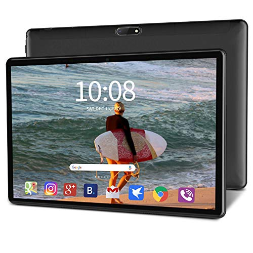 "Tablet Android 9.0 Pie Ultrar-Rápido 10.1″"" Tablets Full HD WiFi de Cuatro Núcleos 4GB RAM 64GB ROM Expandido 128G 8000mAh Dual SIM 4G con Teclado Ratón Cámara 8MP 1920*1200 Bluetooth GPS OTG-Negro"